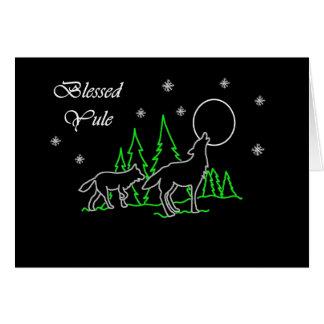 Carte Noël béni par païen avec les loups et la lune
