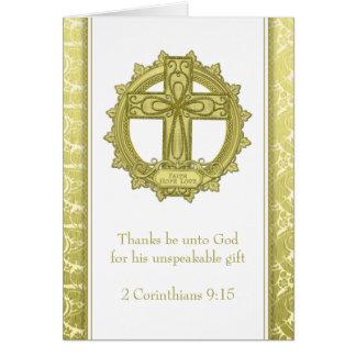 Carte Noël blanc d'or d'amour d'espoir de foi de croix