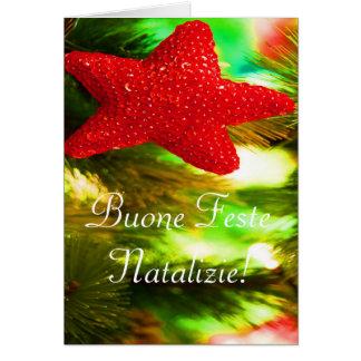 Carte Noël Buone Feste Natalizie STAR II rouge