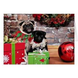 Carte Noël - carlin - marguerite Mae et lis Lou