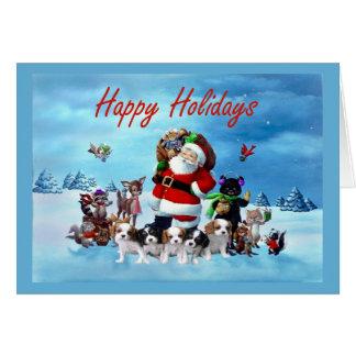 Carte Noël cavalier Père Noël Anim d'épagneul du Roi