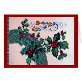 Carte Noël chaleureux souhaite le cru 1913