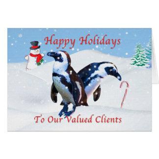 Carte Noël, clients d'affaires, pingouins dans la neige