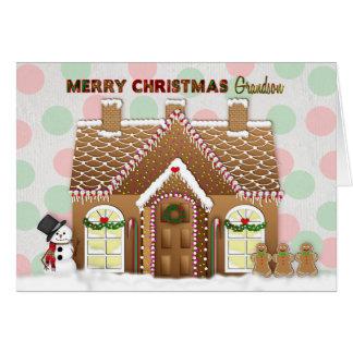 Carte Noël de Chambre de pain d'épice - petit-fils