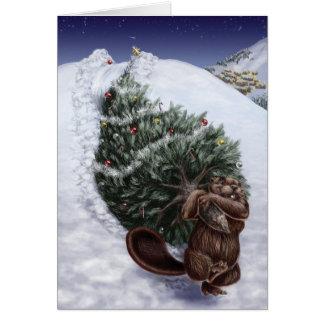 Carte Noël de côte ouest : Castor