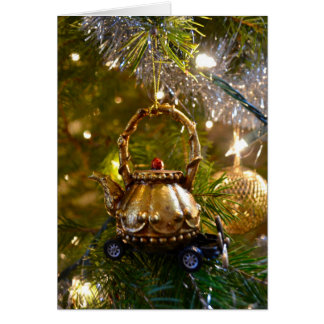 Carte Noël de emballage de théière splendide