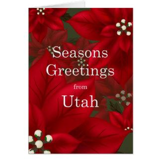 Carte Noël de Joyeuses Fêtes de poinsettia de l'Utah