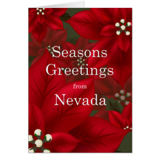 Carte Noël de Joyeuses Fêtes de poinsettia du Nevada