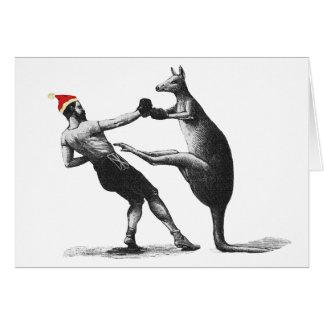 Carte Noël de kangourou de boxe