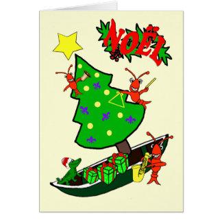 Carte Noël de Noel d'écrevisses de Cajun