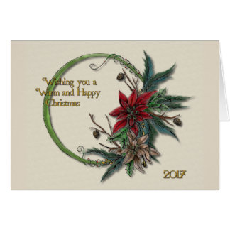Carte Noël de poinsettia et de pin