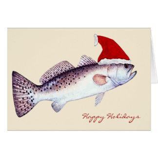Carte Noël de truite tachetée de Père Noël