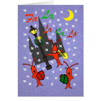 Carte Noël d'écrevisses de la Nouvelle-Orléans Caroling