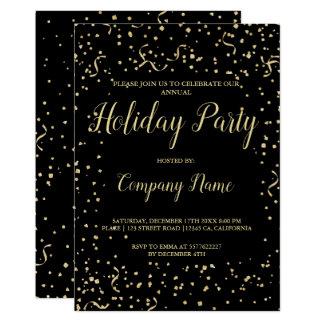 Carte Noël d'entreprise de typographie de confettis d'or