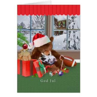 Carte Noël, Dieu juillet, Norvégien, chat de sommeil,