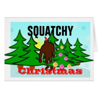 Carte Noël drôle Bigfoot de Squatchy de mauvais goût