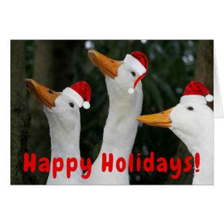 Carte Noël drôle de canards de Père Noël