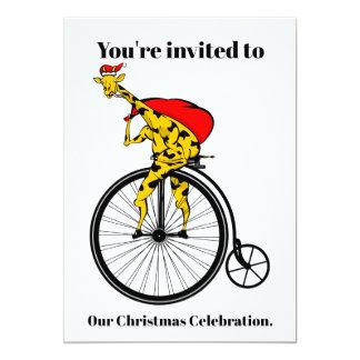 Carte Noël du père noël de girafe