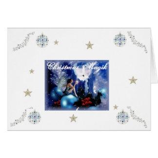 Carte Noël féerique bleu