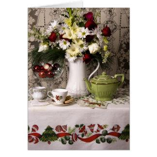 Carte Noël floral de la vie heure du thé 2203 toujours