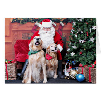 Carte Noël - golden retriever - Sadie et brumeux