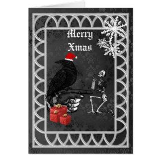 Carte Noël gothique drôle de corneille