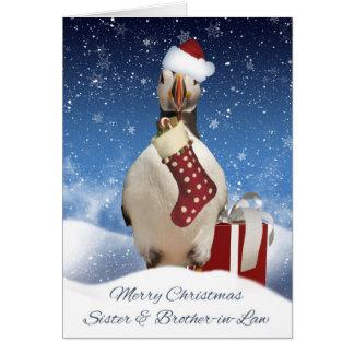 Carte Noël Greetin de soeur et de macareux de beau-frère