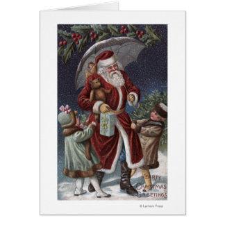 Carte Noël GreetingSanta avec le parapluie