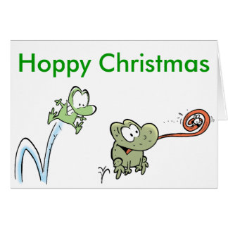 Carte Noël heureux de grenouilles drôles