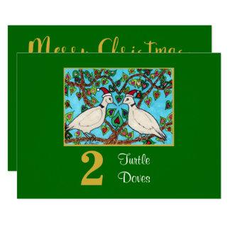 Carte Noël mignon de coutume d'amour de 2 de tortue