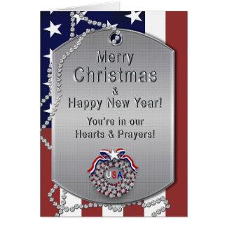 Carte Noël - militaires des Etats-Unis - étiquettes de