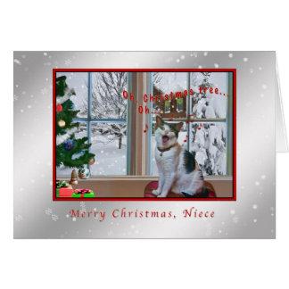 Carte Noël, nièce, chat de chant, neige
