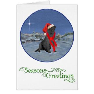 Carte Noël noir de labrador retriever