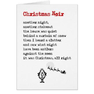 Carte Noël Noir - un poème drôle de Noël