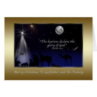 Carte Noël, parrain, religieux, nativité
