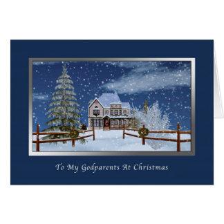 Carte Noël, parrains, Chambre dans la scène d'hiver de