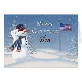 Carte Noël - patriotique - fils - bonhomme de