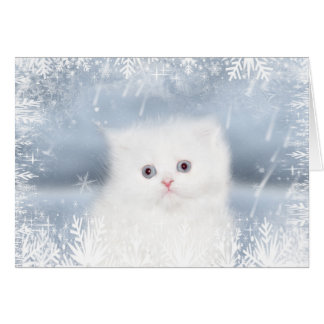 Carte Noël persan blanc de chaton