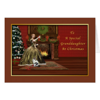 Carte Noël, petite-fille, old-fashioned