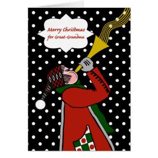 Carte Noël pour la Grand-Grand-maman, la trompette et la