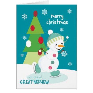 Carte Noël pour le grand bonhomme de neige de patinage