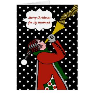 Carte Noël pour le mari, trompette dans la tempête de