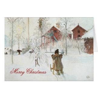 Carte Noël scandinave de maison d'hiver de Carl Larsson