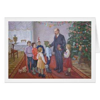 Carte Noël socialiste vintage de réalisme avec Lénine