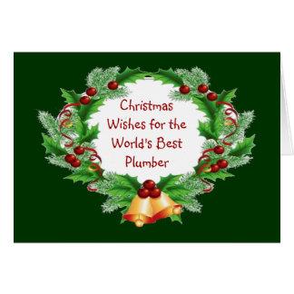 Carte Noël souhaite la guirlande de baie de houx le