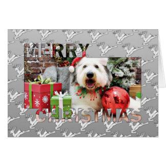 Carte Noël - vieux chien de berger anglais - Alphy