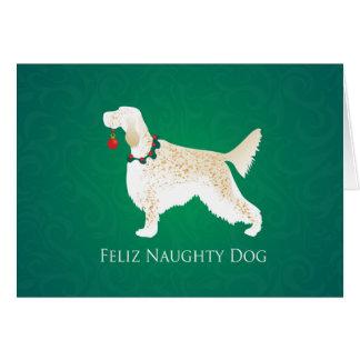 Carte Noël vilain de chien de Feliz de poseur anglais