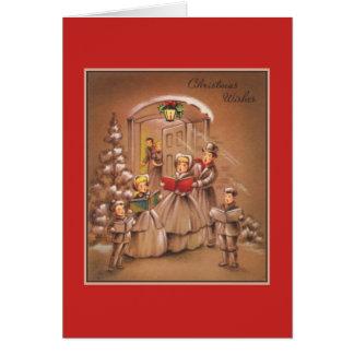 Carte Noël vintage Corolers Tan et rouge