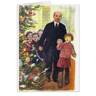 Carte Noël vintage d'aquarelle avec Lénine
