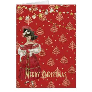 Carte Noël vintage de mode de rouge et d'or